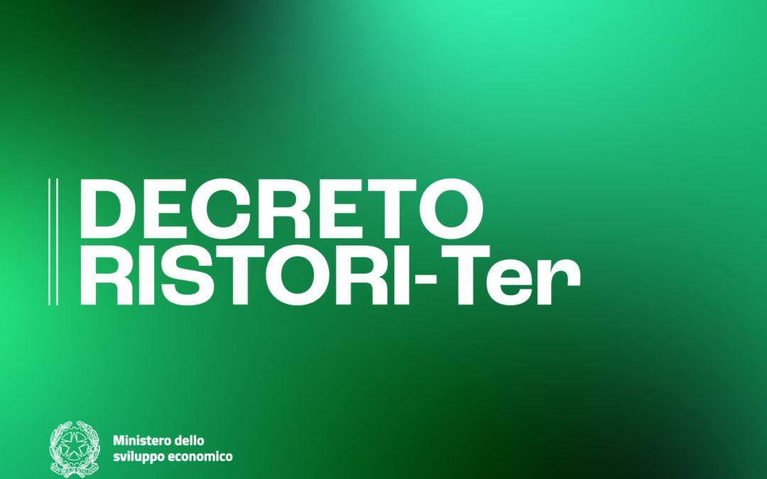 """Governo, Covid-19: pubblicato il cd. Decreto """"Ristori ter"""""""